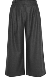 J.Crew Cropped Wool Flannel Wide Leg Pants Charcoal