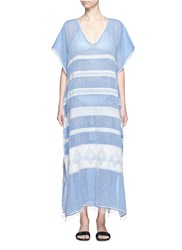 Lemlem 'Freya' Tibeb Embroidery Long Caftan Blue