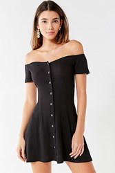 Urban Outfitters Uo Button Down Off The Shoulder Mini Dress Black
