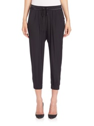 Ramy Brook Stretch Silk Jersey Cropped Track Pants Navy Black