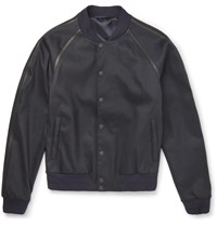Alexander Mcqueen Leather Trimmed Stretch Twill Bomber Jacket Midnight Blue