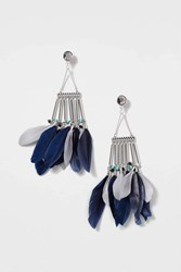 Topshop Feather And Bar Drop Earrings Navy Blue