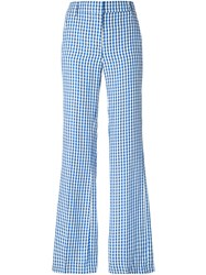 Dondup Marion Patterned Trousers Women Linen Flax Viscose 38 Blue