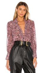 1.State 1. State Snake Print Button Down Blouse In Purple. Mahogany