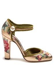Dolce And Gabbana Floral Print Metallic Leather Pumps Multi