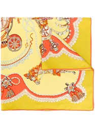 Hermes Vintage Embellished Horse Scarf Yellow And Orange