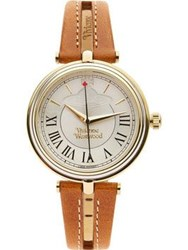 Vivienne Westwood Farringdon Cut Out Detail Leather Watch Tan