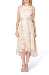Tahari Women's Floral Embroidered Tea Length Dress