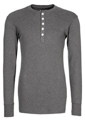 Knowledge Cotton Apparel Henley Long Sleeved Top Dark Grey Dark Gray