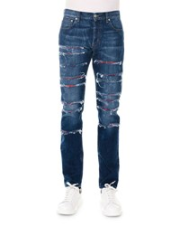 Alexander Mcqueen Straight Leg Slashed Selvedge Denim Jeans Blue