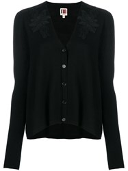 I'm Isola Marras Applique Cardigan Virgin Wool M Black
