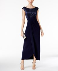 Connected Crinkled Metallic Faux Wrap Gown Navy