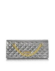 Love Moschino Evening Laminated Quilted Eco Leather Clutch Silver