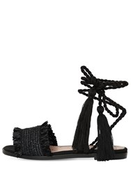 Red Valentino 10Mm Woven Flat Sandals Black