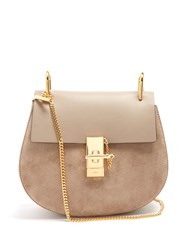 Chloe Drew Small Suede And Leather Cross Body Bag Light Grey