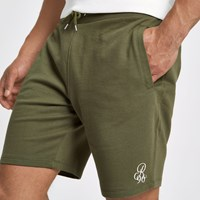 River Island Khaki Green Embroidered Slim Fit Shorts