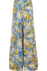 Stella Mccartney Net Sustain Printed Crepe Wide Leg Pants Blue