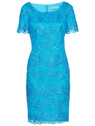 Gina Bacconi Embroidered Corded Dress Summer Blue