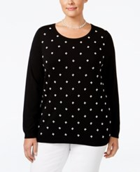 Charter Club Plus Size Pearl Embellished Sweater Only At Macy's Deep Black