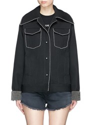 Jinnnn Beaded Waffle Effect Natte Jacket Black