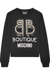 Boutique Moschino Embellished Printed Cotton Jersey Sweatshirt Black