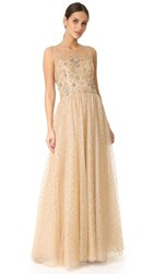 Marchesa Notte Glitter Tulle Ball Gown Gold
