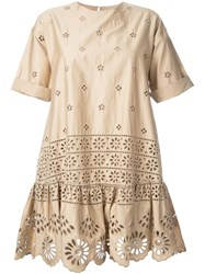 Sea Exploded Eyelet T Shirt Dress Nude Neutrals