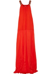 Lanvin Embellished Stretch Jersey And Silk Satin Maxi Dress Red