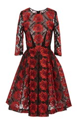 Zac Posen Poppy Embroidery Three Quarter Sleeve Dress Red