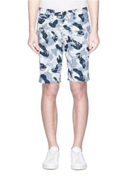 Denham Jeans 'Raptor' Floral Camouflage Print Chambray Shorts Blue