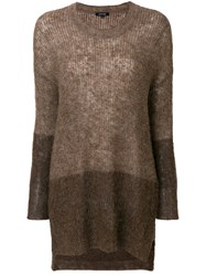 Pas De Calais Two Tone Sweater Nylon Alpaca Brown