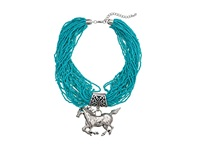 Mandf Western Multi Beaded Strand Horse Necklace Earring Set Turquoise Jewelry Sets Blue