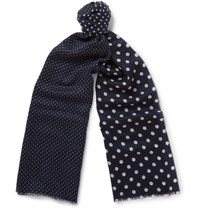 Begg And Co Wispy Polka Dot Cashmere Scarf Navy
