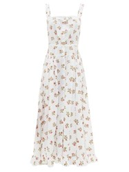 Thierry Colson Rossana Button Down Floral Print Cotton Maxi Dress White Print