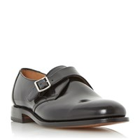 Loake 204B Single Buckle Leather Monk Shoes Black