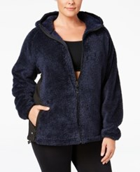 Ideology Plus Size Fuzzy Hooded Jacket Only At Macy's Navy Serenity
