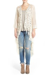 Junior Women's Rip Curl 'Setting Sun' Crochet Long Cardigan Ivory