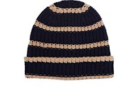 Alex Mill Men's Striped Chunky Rib Knit Cashmere Beanie Navy Tan Navy Tan