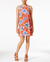 Maison Jules Printed Sleeveless Shift Dress Only At Macy's Cosmic Orange Combo