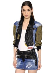 Dsquared Denim Nylon And Leather Short Bomber