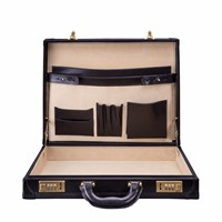 Maxwell Scott Bags The Scanno Luxury Slim Leather Attache Case Black