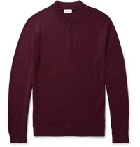 Club Monaco Melange Merino Wool Half Zip Sweater Burgundy
