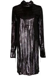 Nina Ricci Metallic Shift Dress Brown