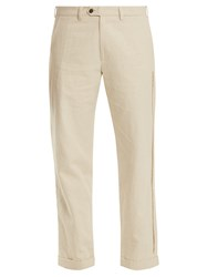 Jupe By Jackie Ebeko Embroidered Mid Rise Cotton Trousers Cream