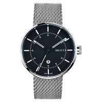 Bravur Watches Steel Case And Black Dial Milanese Mesh Strap Black White Silver