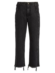Rachel Comey Trigger Frayed Mid Rise Cropped Jeans Black