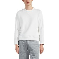 Barneys New York Cotton Blend Fleece Sweatshirt White