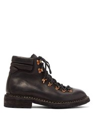 Guidi Grained Leather Hiking Boots Black