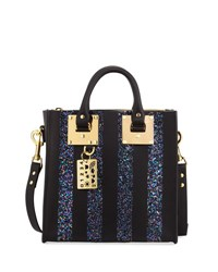 Sophie Hulme Albion Glitter Stripe Leather Box Tote Bag Black Blue Black Blue
