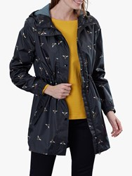 Joules Golightly Pack Away Waterproof Bee Print Parka Coat Black Bee